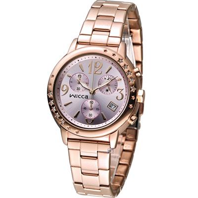 WICCA 繽紛甜美計時腕錶(BM1-121-91)-粉紅x玫瑰金色/ 34mm