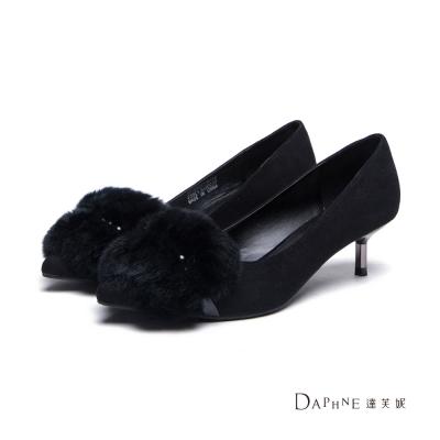 達芙妮DAPHNE-高跟鞋-鋪毛裝飾絨面中跟尖頭鞋-黑
