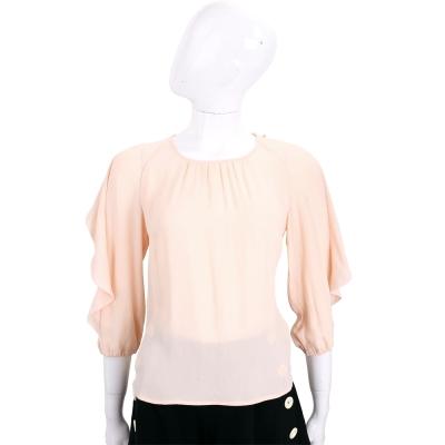 ELISABETTA FRANCHI 粉橘色荷葉滾邊飾袖七分袖上衣