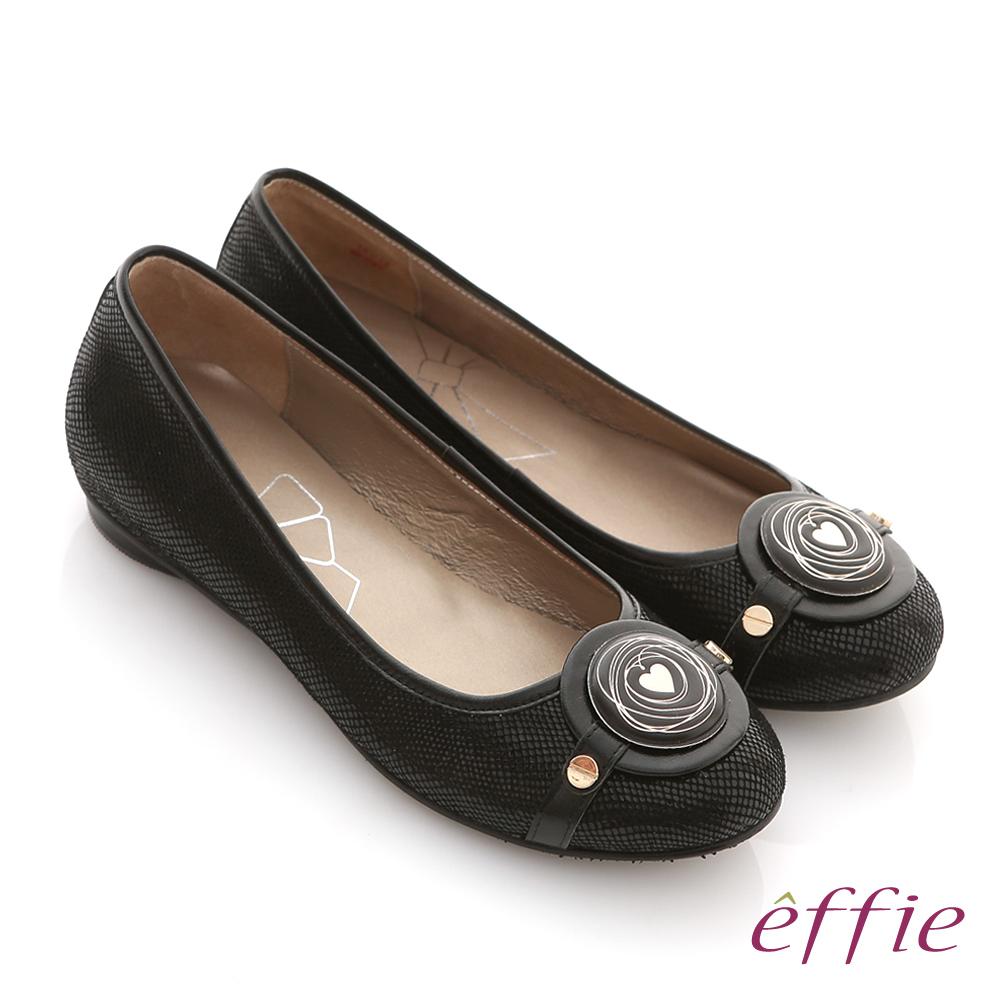 effie 時尚樂活 絨面壓紋羊皮圓釦平底鞋 黑