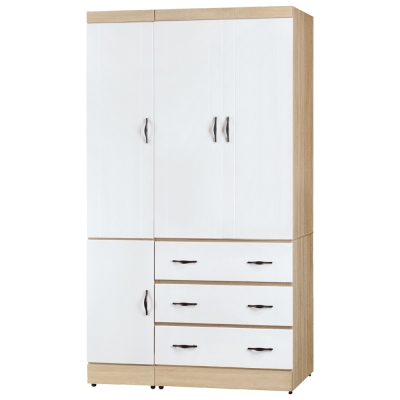 Boden-莉卡3.8尺四門三抽衣櫃-兩色可選-113x57x200cm