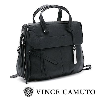 Vince Camuto 通勤首選真皮夾層肩背手拿兩用包-黑色