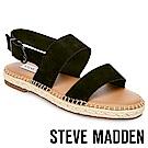 STEVE MADDEN-ETHAN-寬版草編平底涼鞋-絨黑