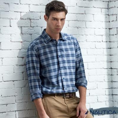 Nautica 型男格紋長袖襯衫-藍