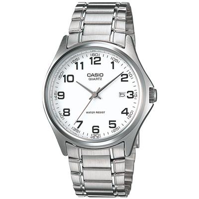 CASIO 羅馬時尚精緻紳士腕錶(TP-1183A-7B)-數字時標/白/37mm