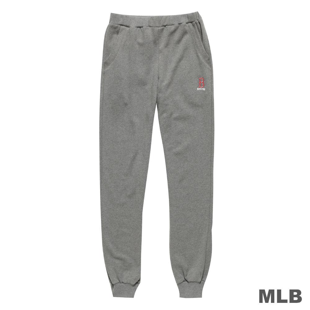 MLB-波士頓紅襪隊縮口電繡合身厚長褲-深麻灰(男)