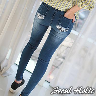 針織花紋拼接口袋牛仔褲 (藍色)-Seoul Holic