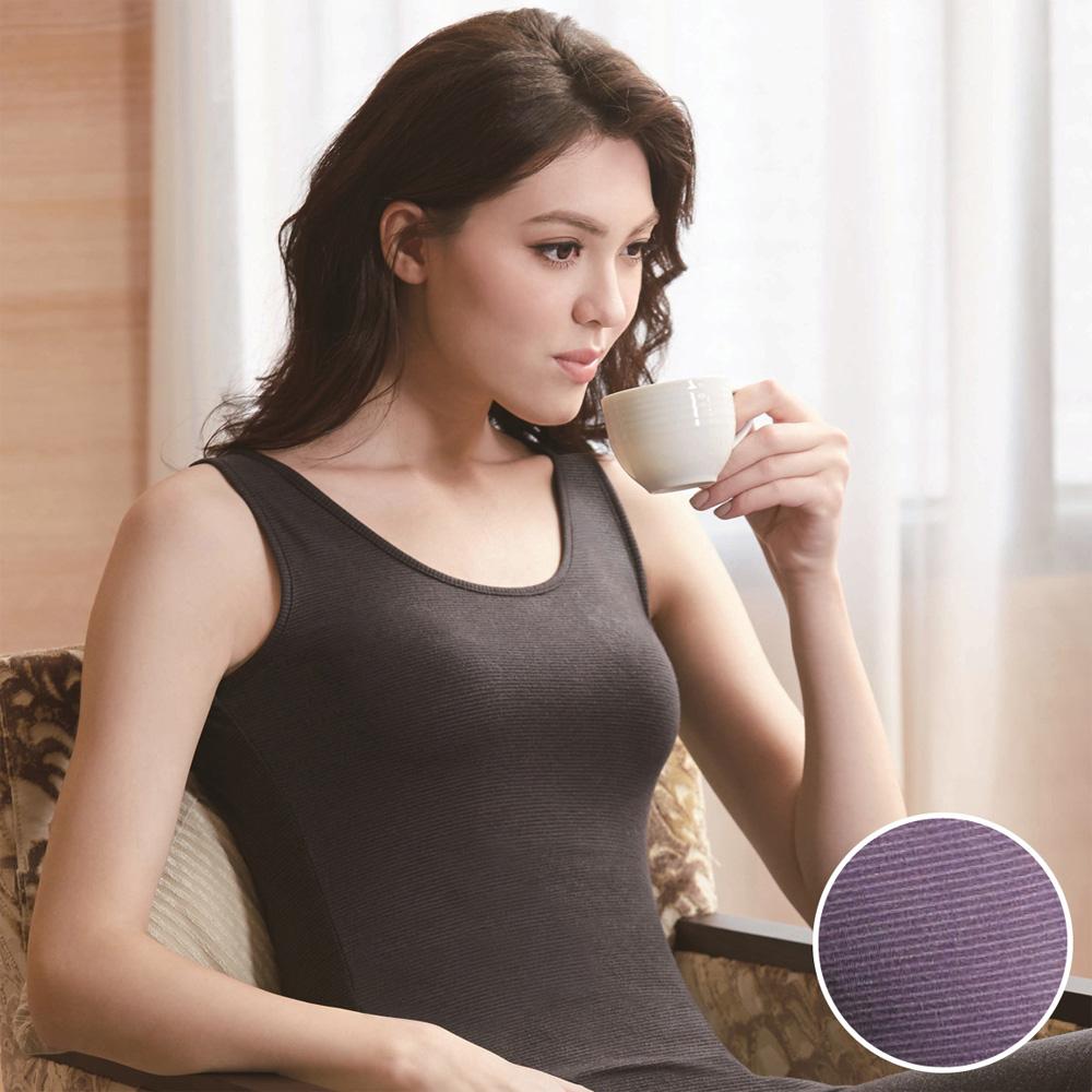 華歌爾-EKS美肌發熱衣M-LL圓領背心款發熱衣(深葡紫)