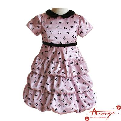 華麗緞面滿滿蝴蝶結洋裝*3201粉