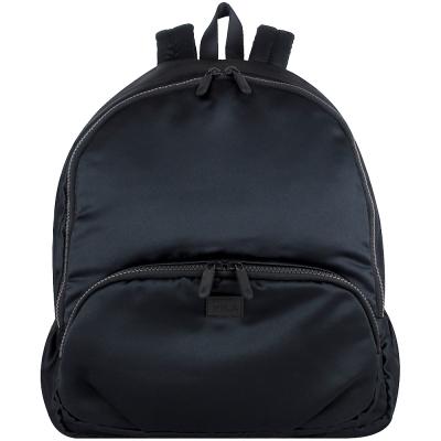 agnes b. voyage 黑色皮標絨布拉鍊後背包