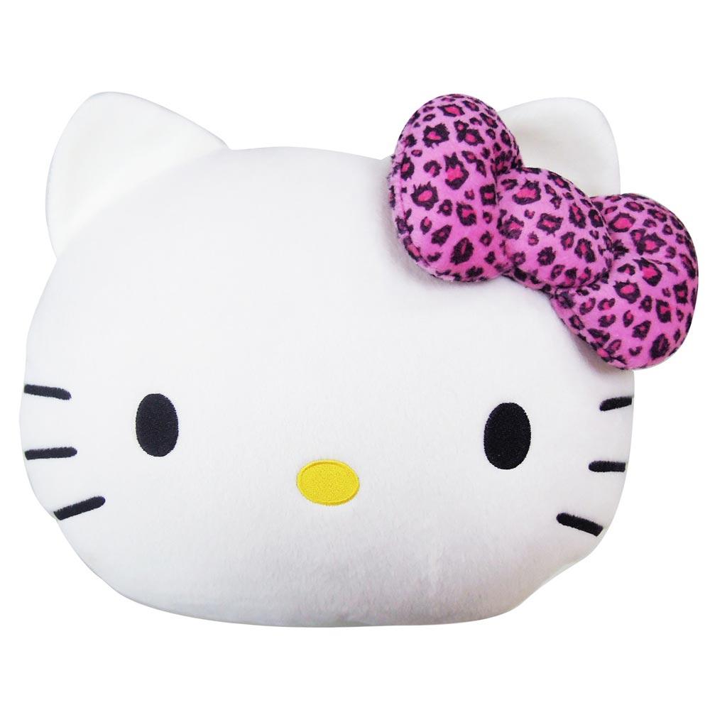 Hello Kitty 豹紋系列-頭型棉被抱枕