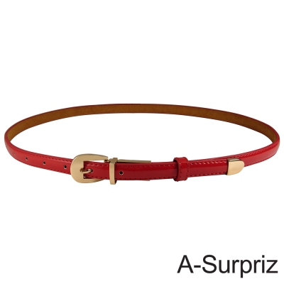 A-Surpriz   甜美氣質牛皮底細版腰帶(亮紅)