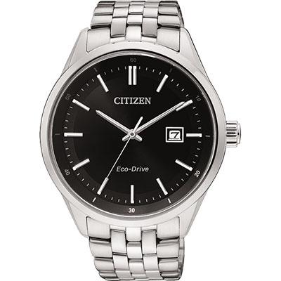 CITIZEN Eco-Drive 時尚大三針都會腕錶(BM7250-56E)-黑/41mm