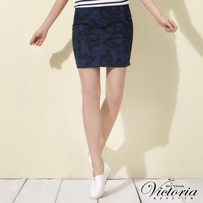 Victoria 舒活印花及膝窄裙-女-深藍