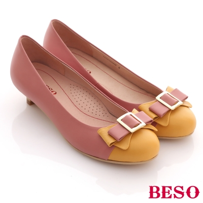BESO蜜糖舞曲-柔軟羊皮雙色拼接甜美低跟鞋-粉色