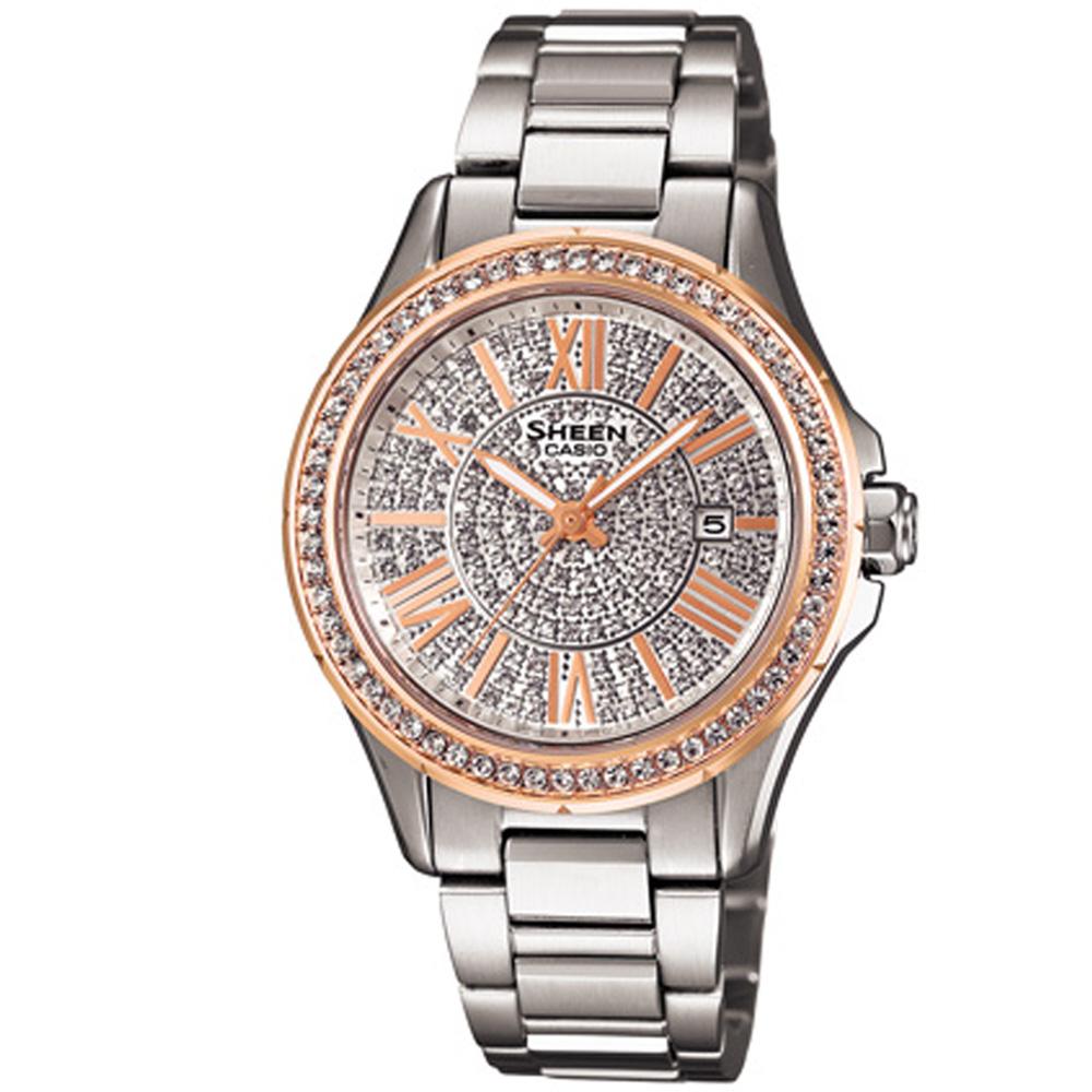 SHEEN 陽光禮讚bling全日曆時尚腕錶-玫瑰金x銀/35mm