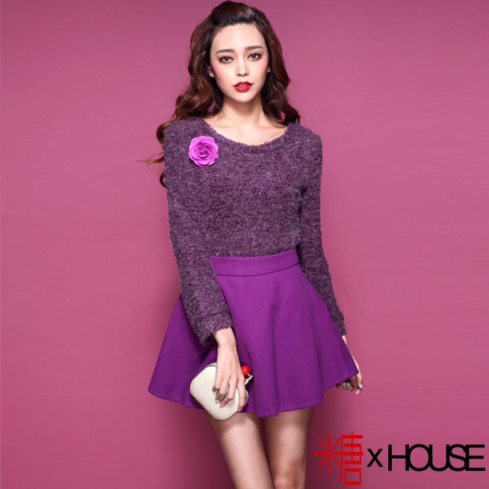 糖 x House 名媛粗針毛呢衫+短裙套裝 (紫色)