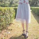 東京著衣-yoco 自訂款唯美蕾絲網紗中長裙-XS.S.M.L(共二色)