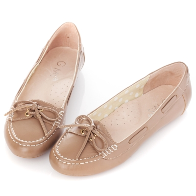 G.Ms. 微甜學院-羊皮綁帶蝴蝶結莫卡辛豆豆鞋-可可亞