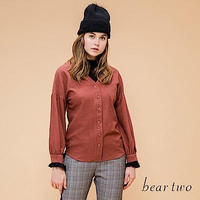 beartwo 假兩件套頭造型口袋上衣(焦糖色)