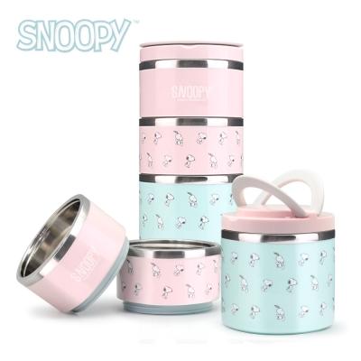 Snoopy史努比馬卡龍304不鏽鋼三層保溫餐盒組1200ml