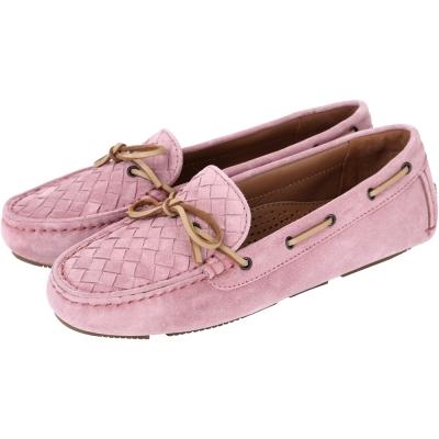 BOTTEGA VENETA 麂皮編織綁帶莫卡辛鞋(粉紅色)