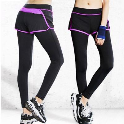 假兩件輕薄透氣壓縮褲一件(紫)