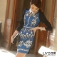 LIYO理優洋裝撞色印花洋裝(藍)