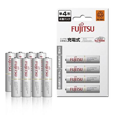 Fujitsu 低自放4號 750mAh 鎳氫充電電池(8顆入)