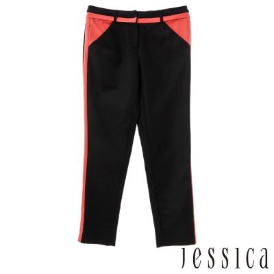 JESSICA-RED-簡約時尚雙色拼接長褲-黑