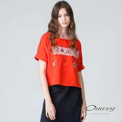OUWEY歐薇 休閒女孩刺繡寬版上衣(白/紅)