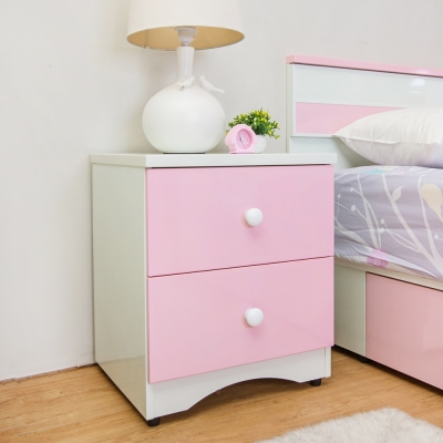Birdie南亞塑鋼-貝妮1.5尺粉色塑鋼二抽床頭櫃-46x42x56cm