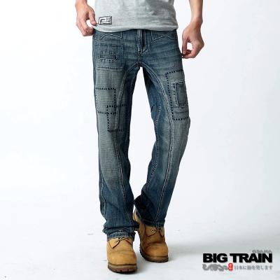 BIG TRAIN 日式繡花貼袋垮褲-中藍