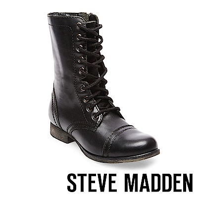 STEVE MADDEN-TROOPA 真皮綁帶中筒靴-黑色