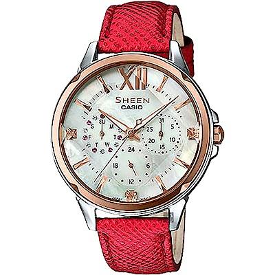 CASIO 卡西歐SHEEN 典雅晶鑽日曆手錶-玫瑰金圈x紅(SHE-3056GL-7AU