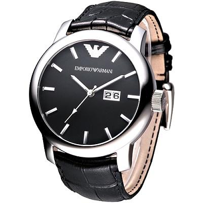 ARMANI 都會菁英大三針男錶(AR0428)-黑/46mm