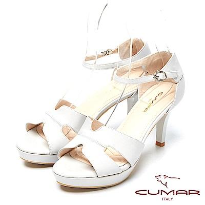 CUMAR時尚品味-經典設計真皮高跟涼鞋-淺灰色