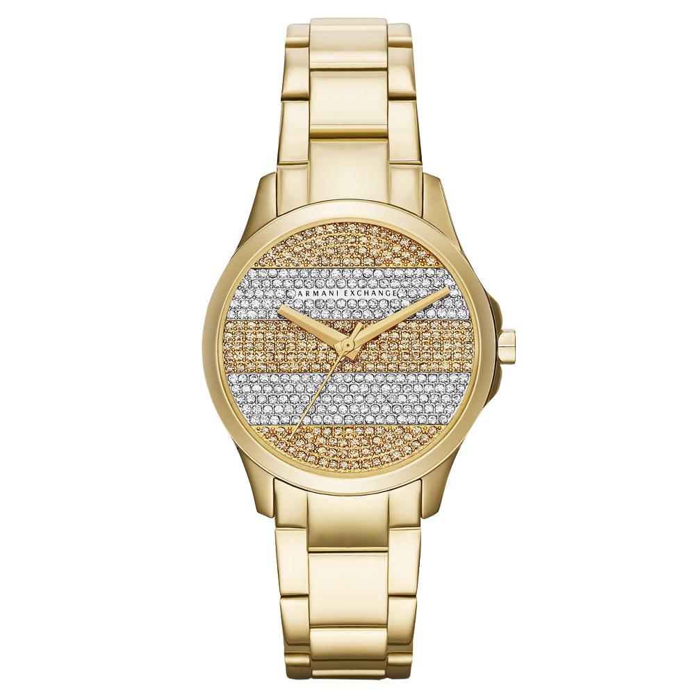 A│X Armani Exchange 迷人丰采時尚晶鑽腕錶-金/36mm