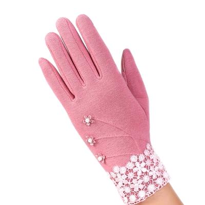 幸福揚邑 防風加絨觸控騎車開車保暖棉手套-典雅蕾絲-粉色