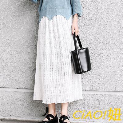 氣質壓褶蕾絲半身裙 (共二色)-CiAO妞