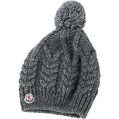 MONCLER 經典徽章麻花羊毛針織帽(灰色)