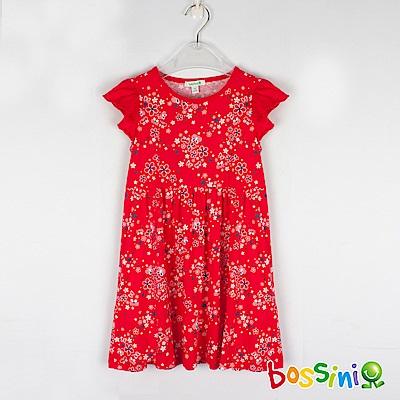 bossini女童-印花連身洋裝04暗紅