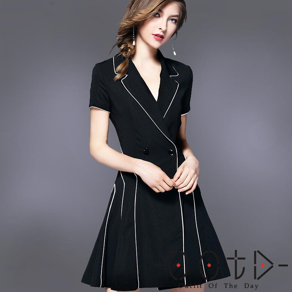 西裝V領撞色短袖洋裝 (黑色)-OOTD
