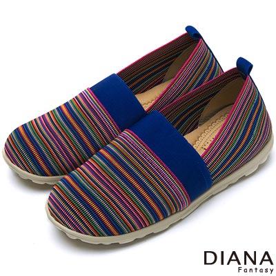 DIANA 輕。愛的--民族雅典彈性鬆緊帶超輕量樂福鞋-藍