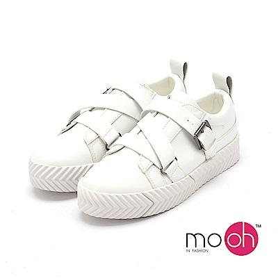 mo.oh - 運動風休閒厚底搭扣小白鞋-白色