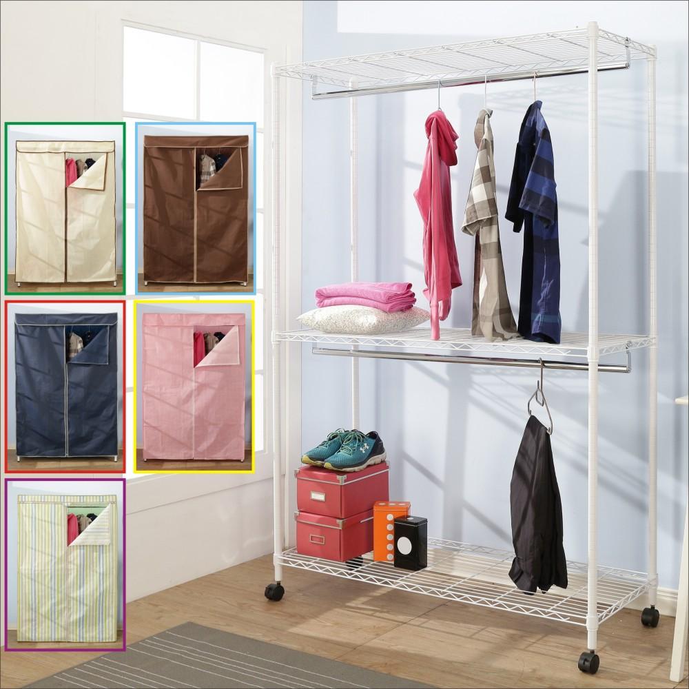 BuyJM鐵力士白烤漆強固型布套三層雙桿衣櫥附輪120x45x185CM-DIY