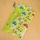 鴻宇HongYew 防蹣抗菌100%美國棉-旅行家 黃綠 舖棉兩用加大型兒童睡袋