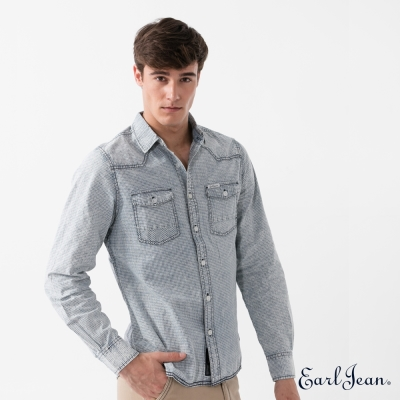 Earl Jean 洗舊格紋長袖襯衫-淺藍-男