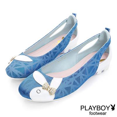 PLAYBOY 優雅浪漫 彩暈光感後鏤空娃娃鞋-藍(女)