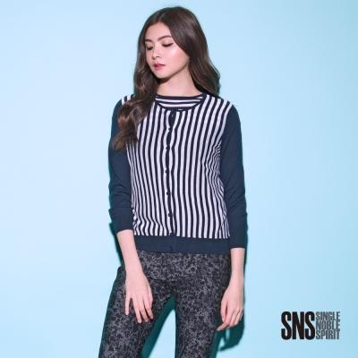 SNS 直條紋拼接長袖針織外套(2色)